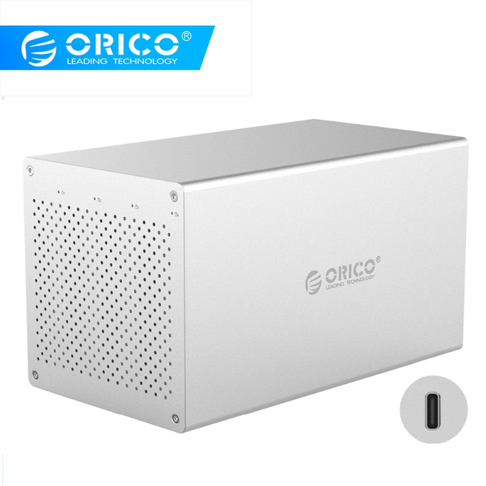 ORICO 4 Bay SATA To Type-C 3.5'' Hard Drive Enclosure Aluminum Support 40TB 5Gbps 12V Power Adapter USB C HDD Docking Station