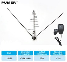 TV outdoor antenna TV antenna Digital tv receiver VHF UHF for DVB-T2 HDTV DTV ISDBT ATSC High Gain Strong Signal  PUMER