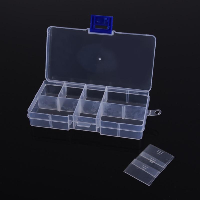 Adjustable Grid 10 Slots Tool Box Electronic Parts Storage Screw Case Transparent Plastic Case Multi Function Tool
