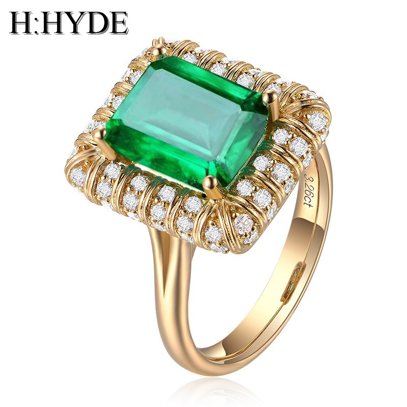H:HYDE Fashion Luxury Big Stone 3.26ct Green Gem Ring High Quality Gold Color Brand Wedding Engagement Jewelry For Women anillos