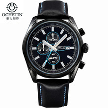 OCHSTIN Men Chronograph Watch Men Sport Watch Leather Waterproof Date Luxury Business Watches Men Relogio Masculino