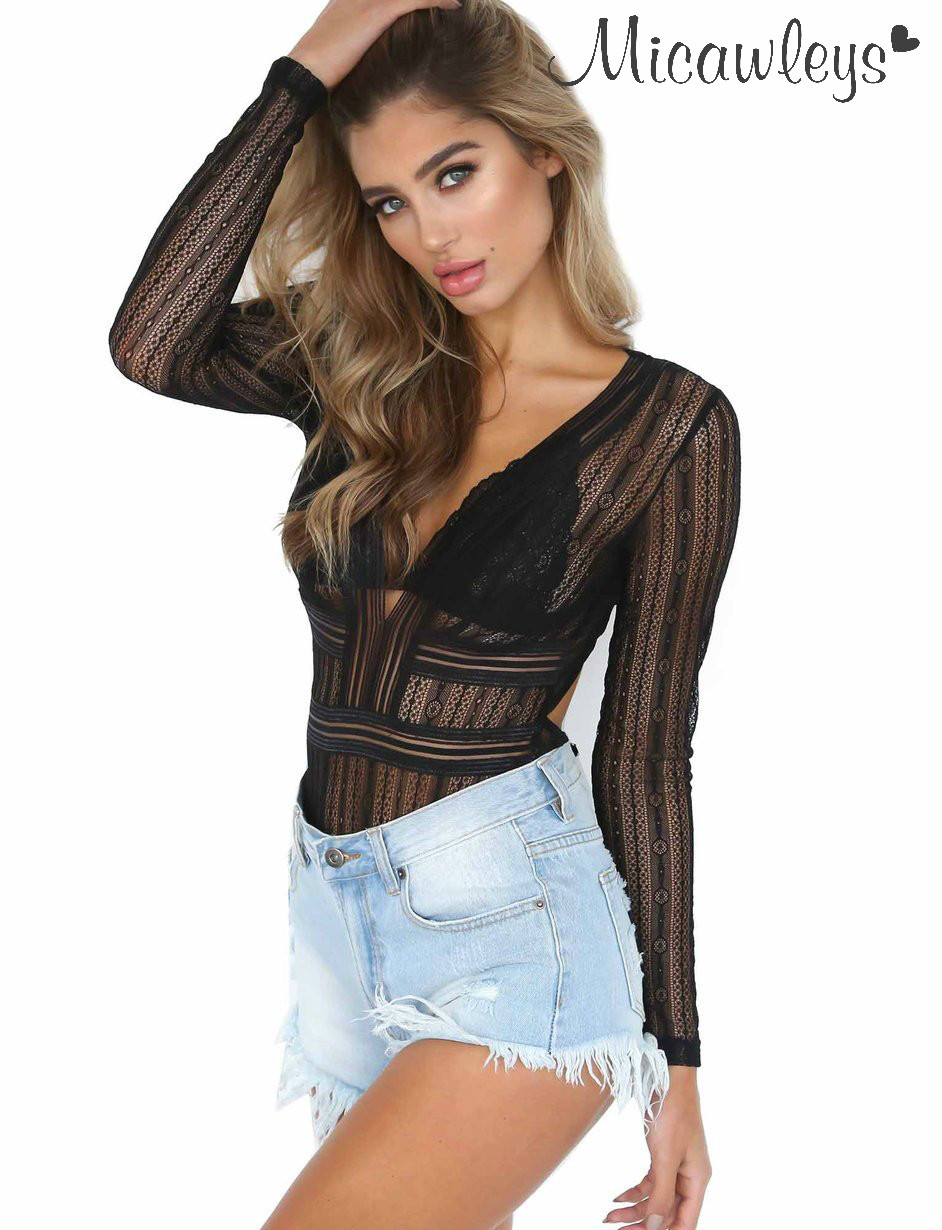 Micawleys Hollow Out Deep V-Neck One Pieces Bodysuit long sleeve Backless Black Red Jumpsuit Women Summer Top Romper Playsuit