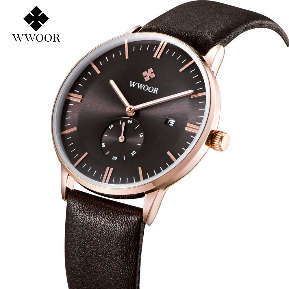 WWOOR Wrist Watch Men Top Brand Luxury Famous Male Clock Quartz Watch Wristwatch Quartz-watch Relogio Masculino WR8808Z-Brown classic simple star women watch men top famous luxury brand quartz watch leather student watches for loves relogio feminino