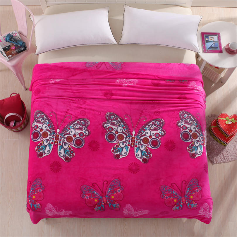 Butter Fly Printed Extra Large Size Soft And Beautiful Coral Fleece Velvet  Blanket Bed Sheet Printed Throw Bedding Red Blanket In Blankets From Home  ...