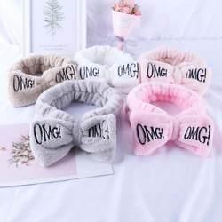 Карамельный цвет OMG письма повязка на голову с бантом из кораллового флиса Hairbands для Для женщин смывание макияжа с лица резинки для волос