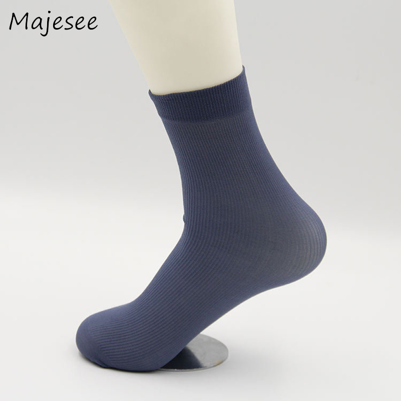 New Fashion Men Socks Thin Silk Summer Business Mens Deodorant Sock Breathable Solid 5 Colors Daily Crew Trendy Comfortable