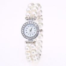 купить Fashion Women Casual Pearl String Watch Strap Quartz Wrist Rhinestone Watch women's watch lady watch Luxury Feman Clock онлайн