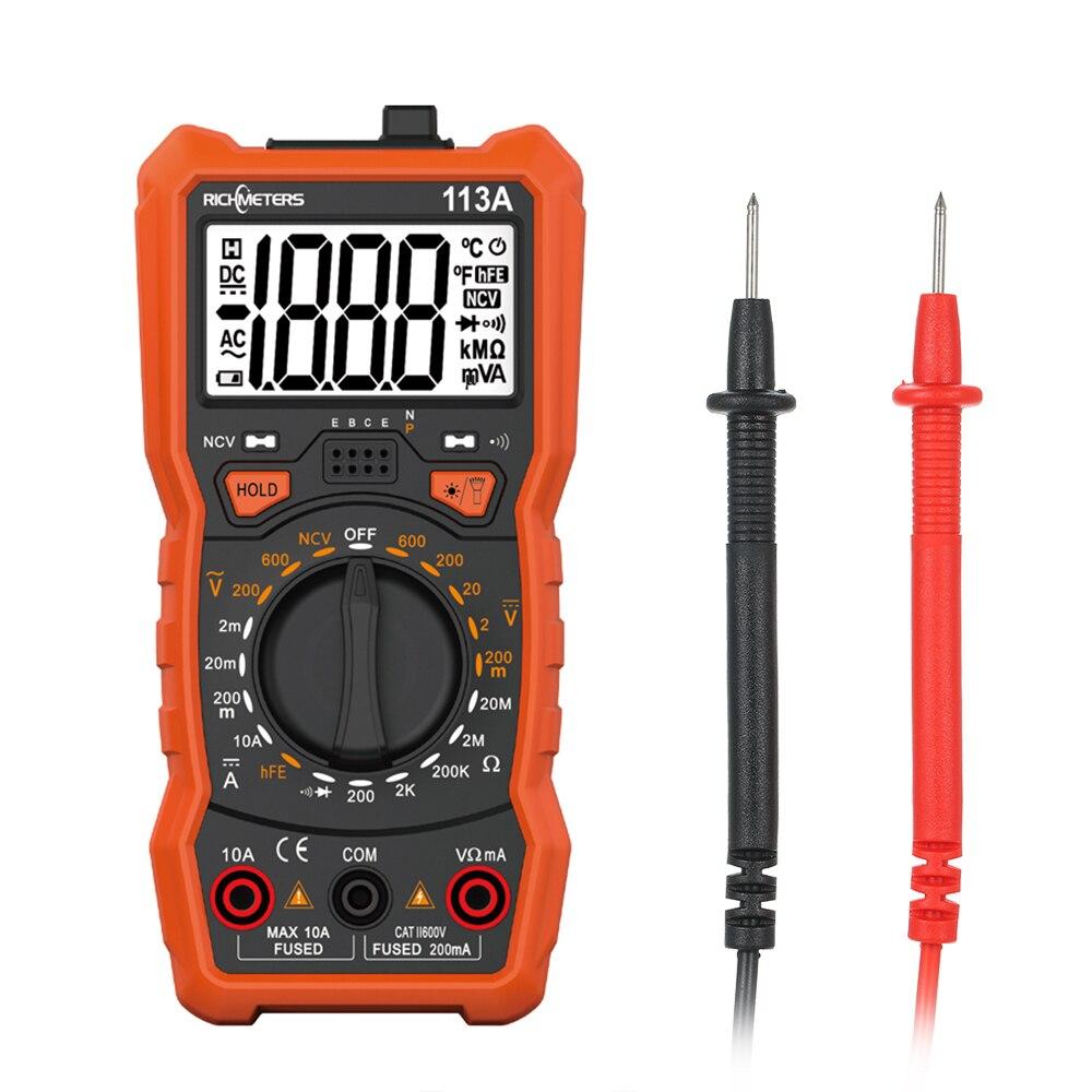 RM113D NCV Multímetro Digital 6000 counts Auto Ranging AC/DC medidor de tensão luz do Flash Back light Tela Grande 113A /D