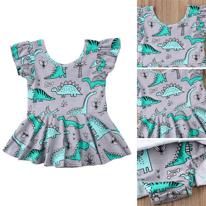 Toddler Kids Baby Girls Clothes Round Neck Ruffle Cotton Casual Jumpsuit Sleeveless Dinosaur Print Newborn Bodysuit One Pieces Girls' Baby Clothing
