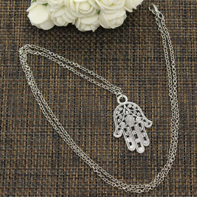 New Fashion Tibetan Silver Pendant hamsa palm hand protect Choker Charm Short Long DIY Necklace Factory Price Handmade jewelry