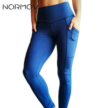 4d0bae3fa3 NORMOV High Waist Yoga Pants Sport Tights Women Solid Pocket Running Fitness  Clothing Push Up Leggings Classic Trousers Female