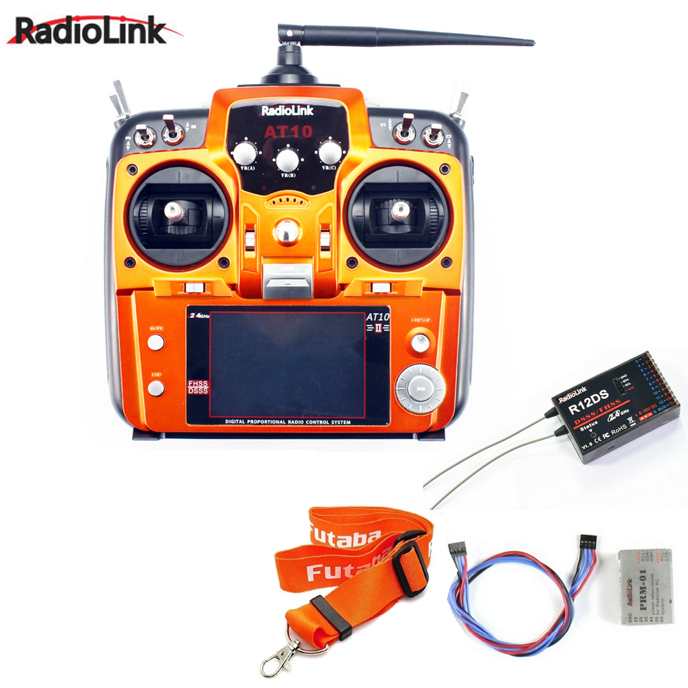 RadioLink AT10 II 2.4Ghz 10CH RC Transmitter with R12DS Receiver PRM-01 Voltage Return Module with Neck Strap for gift 2 4ghz 10ch radiolink at10 ii upgraded at10 rc transmitter with r12ds receiver prm 01 for rc camera drone airplane quadcopter