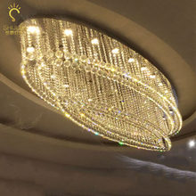 Ceiling Light Crystal Light Oval Hotel Lobby Villa Living Room Dining Room Entrance Corridor Aisle Engineering Light led lamp(China)