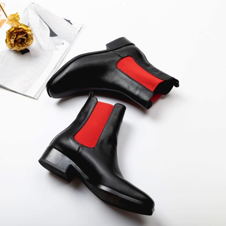Bout Rouge Chaussures Femme D'hiver rouge Mixte Rond Tissu Sur Talon Glissement Couleur Stretch Noir En Chelsea Patchwork Femmes Chunky Noir Cuir Bottes UMVSpz