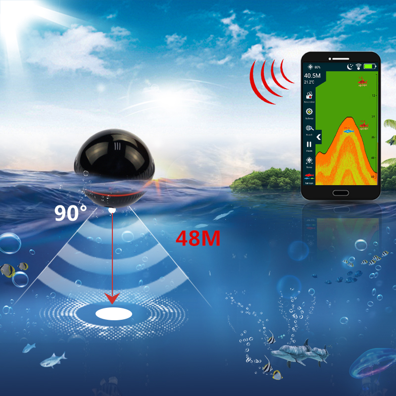 Erchang Smart Portable Fish Finder Depth Sonar Sounder Fishfinder for Lake Sea Fishing Alarm Depth for IOS Iphone Android erchang f3w portable fish finder bluetooth wireless echo sounder sonar sensor depth fishfinder for lake sea fishing ios