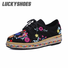 [LuckyShoes]2016 Spring/Autumn New Women's Genuine Leather Bohemia Fashion Casual Shoes Black Ethnic embroideryFlats Woman Shoes