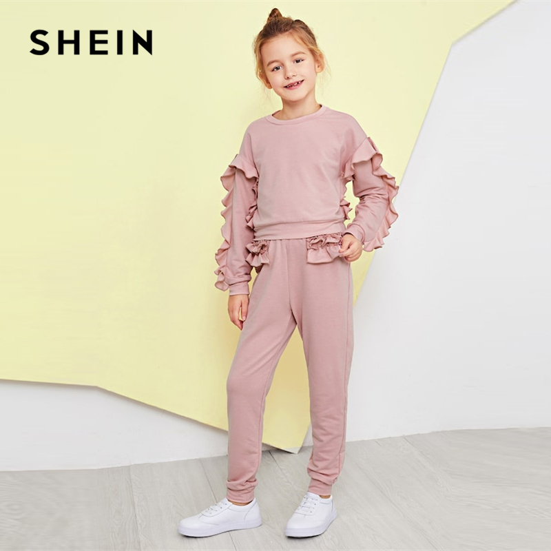 SHEIN Kiddie Girls Pink Solid Ruffle Trim Top And Tapered Pants Set Suit Sets 2019 Fashion Long Sleeve Children Clothes Sets puff sleeve crop top and wide leg pants set