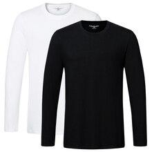 Bawełna wysokiej jakości t koszula wiosna jesień moda męska koszulka homme mężczyźni z długim rękawem O neck jednokolorowa na co dzień koszulki topy koszulki 2 sztuk