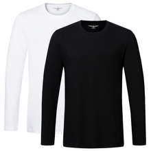 High quality cotton t shirt Spring autumn fashion men T shirt homme men long sleeved O neck solid casual T shirts Tops Tees 2pcs