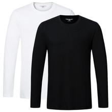 Yüksek kaliteli pamuklu t shirt İlkbahar sonbahar moda erkekler T shirt homme erkekler uzun kollu o boyun katı rahat T shirt Tees Tops 2 adet