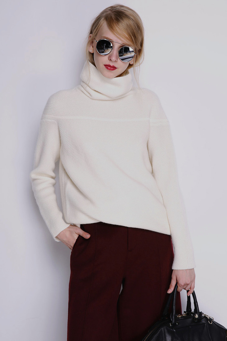 BELIARST New Autumn and Winter Cashmere Sweater Women's High Collar Thick Solid Color Sweater Loose Knit Sweater Wild Pullover 16