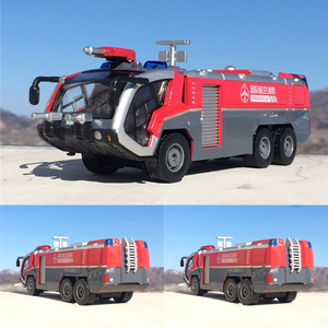 Image 1 - 1:50 İtfaiye havalimanı itfaiye kamyonu model alaşım araba oyuncak modeli geri çekin ses ışık oyuncak çocuklar için hediyeler ücretsiz kargo