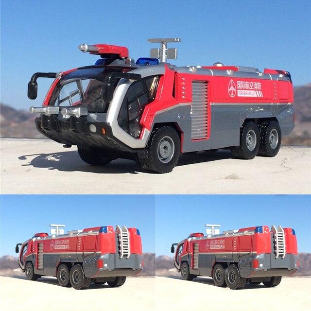 1:50 İtfaiye havalimanı itfaiye kamyonu model alaşım araba oyuncak modeli geri çekin ses ışık oyuncak çocuklar için hediyeler ücretsiz kargo