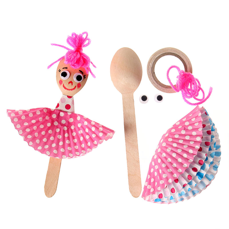 Us 8 04 18 Off 4 Pcs Children Diy Wooden Spoon Kit Doll Kids Kindergarten Art Craft Handmade Color Paper Sticker Production Educational Toys In