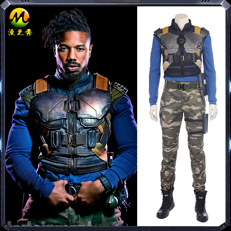 New Movie Black Panther Erik Killmonger Cosplay Costume Halloween Costumes For Men Full Set Custom Made