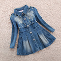 Kids denim Wind Coats Girls Outwear Vogue Washed frayed Trench Long Sleeve Jean Parka Baby Jackets Toddler girls clothing