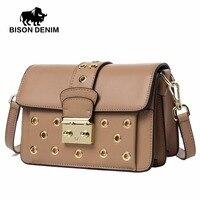 BISON DENIM New Arrival Genuine Leather Women Shoulder Messenger Bags Female Crossbody Bags High Quality Women