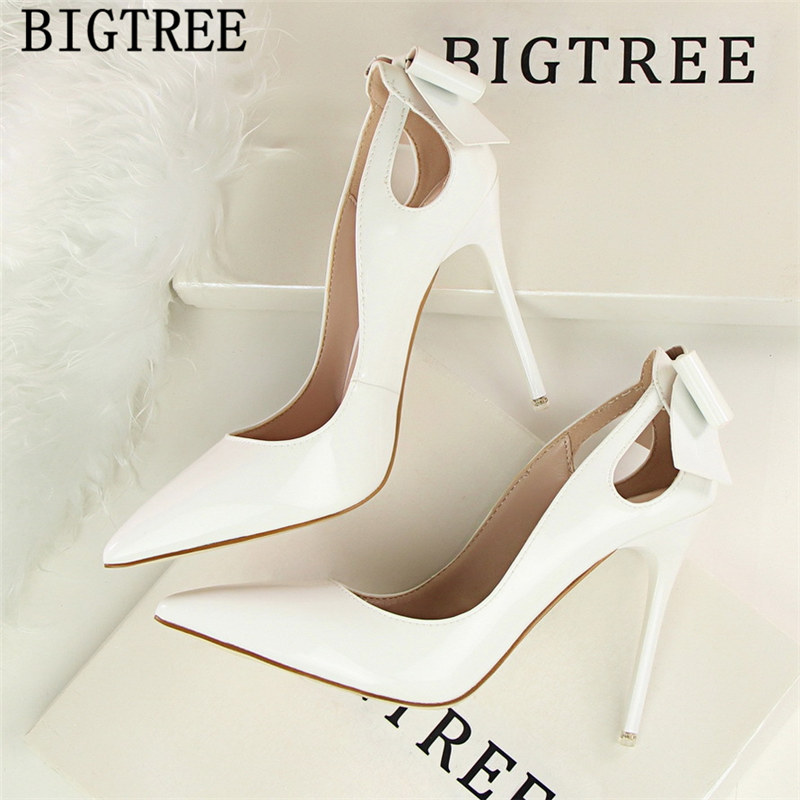 Patent Leather Butterfly-knot Sexy High Heels Women Wedding Shoes Buty Pumps Women Shoes Bigtree Shoes Tacones Altos Mujer Sexy