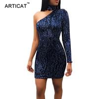 Articat Reizvolle Schulter Pailletten Mini Kleid Frauen Winter Kleid Halter Langarm Mantel Bodycon Womens Party Kleider Vestidos