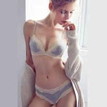 Купить с кэшбэком Women Lace Wire Free Comfortable Push Up Bra Set Seamless Breathable Underwear Women Lingerie Sexy Panties and Bra Sets