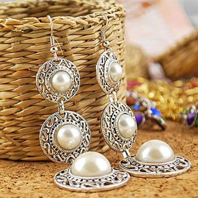Long Drop Earrings Women Silver Color Simulated Pearl EarDrop Dangle Earring Hollow Statement Charm Vintage Jewelry Accessories