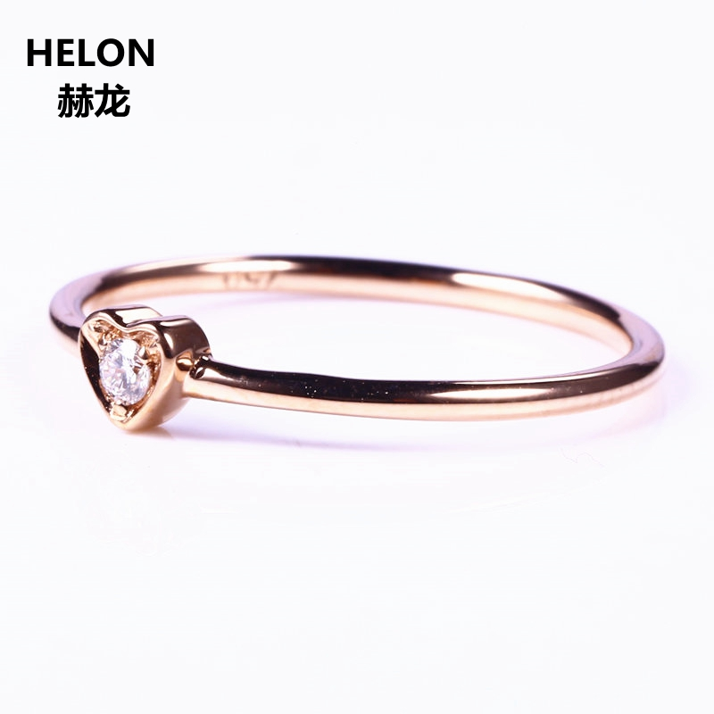 Solid 14k Rose Gold VS/H Natural Diamonds Engagement Ring Wedding Band Trendy Heart Women Fine JewelrySolid 14k Rose Gold VS/H Natural Diamonds Engagement Ring Wedding Band Trendy Heart Women Fine Jewelry