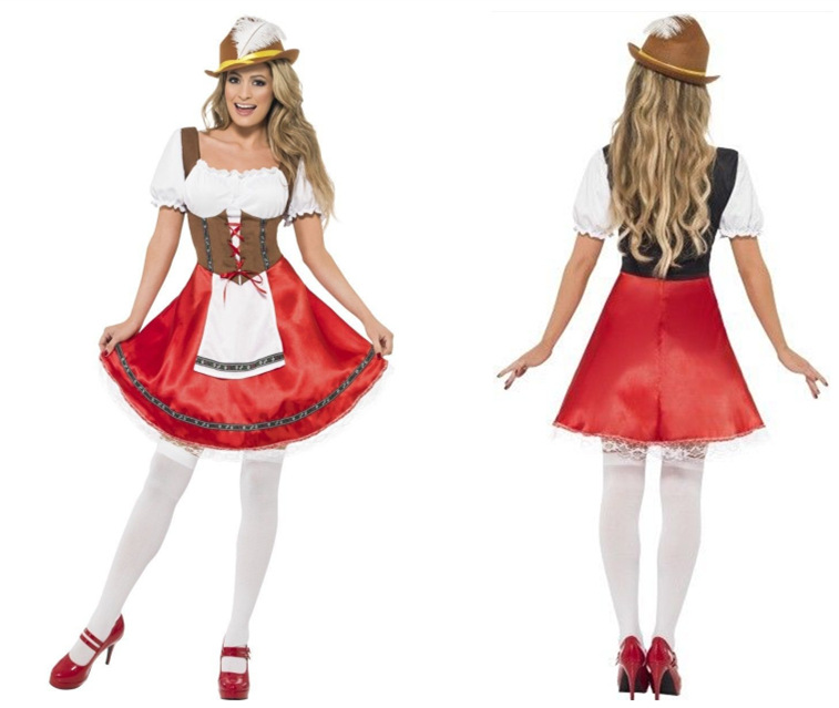 Germany Bavaria Oktoberfest Beer Girl Costume Wench Beer Maid Festival Party Dress With Hat