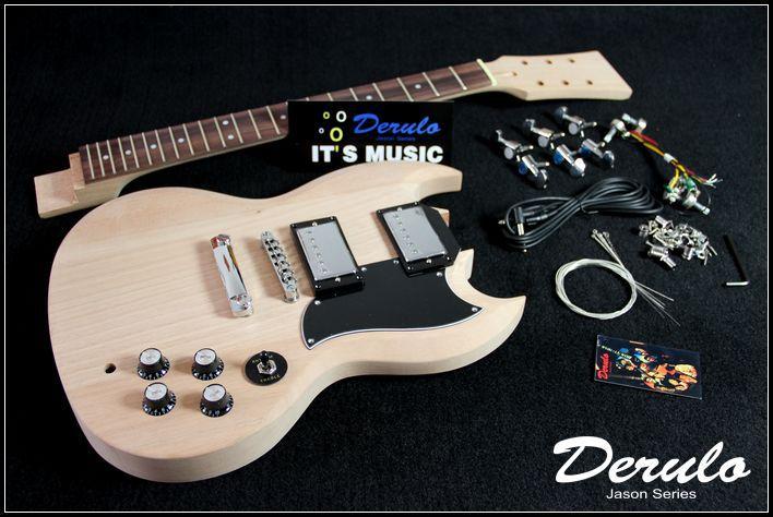 DIY Electric Guitar Kit  Set-In  Solid Mahogany  Unfinished  Luthier MX-016 1set unfinished electric guitar neck set in