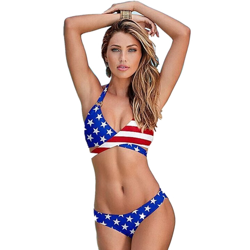 USA Flag With Star and Stripe Bikini Women Criss Cross Wrap Push Up Bra Swimsuit Print Triangle Swimwear Halter Bathing Suit