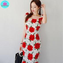 2019 summer new women's Korean version of the Slim print flower bag hip fashion ruffle dress Zippers  Ankle-Length  Sleeveless цены