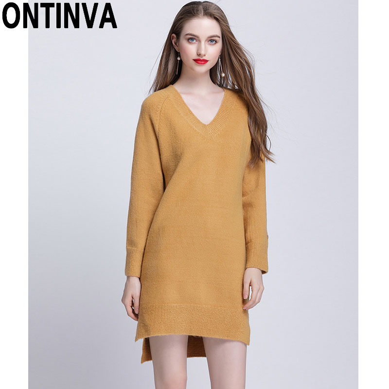 d655efcee69 Side Split Asymmetrical Sweater Dresses V Neck Irregular Knit Jumper Plus  Size XXL 3XL 4XL 5XL 2019 Women Fall Fashion Pullovers-in Pullovers from  Women s ...