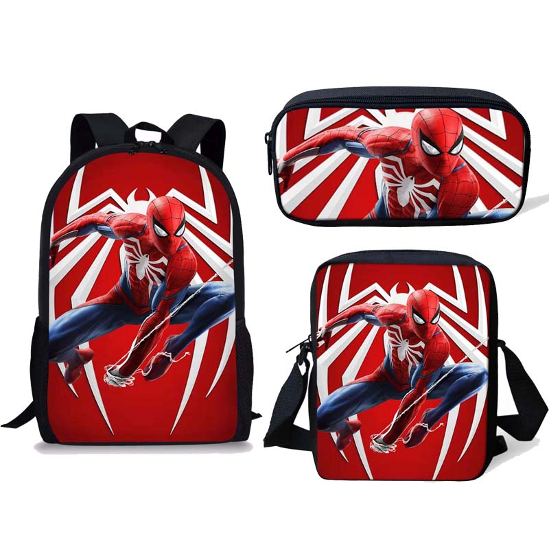 Anime School Bag Set 3pcs Kids Backpacks Spiderman Mochila Escolar Infantil Children Pencil Shoulder Book Bags Boys Girls Gifts