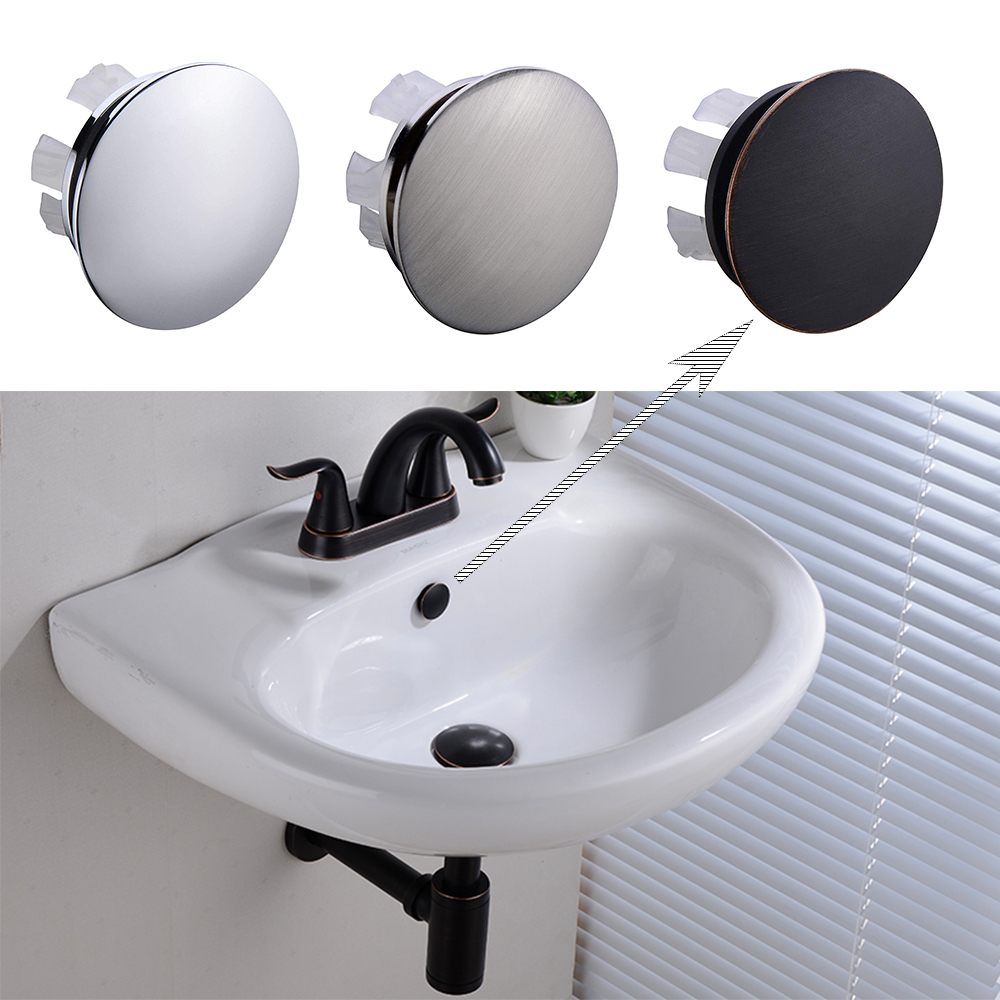 Solid Brass Sink Overflow Cap Round Hole Cover for Bathroom Basin Chrome/Brushed Nickle/ORB Finished(China)