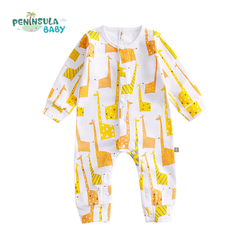 Spring Autumn Baby Rompers Long Sleeves Cotton Baby Girls Boys Cartoon Giraffes Printed Newborn Boys Clothes Jumpsuit Fit 0-24M 2017 spring newborn rompers baby boys girls clothes long sleeve cute cartoon face cotton infant jumpsuit queen ropa bebes 0 24m