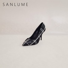 SANLUME Black Heel Autumn Pumps Women Shoes Woman Extreme High Heels Ladies Elegant Stiletto Party shoes Pointed Toe Heels недорого