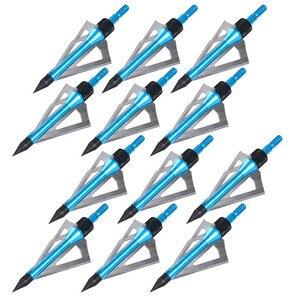 Image 2 - Groothandel 300 stks Jacht Pijlpunt 100 grain Broadhead Boogschieten Rvs 3 blades vijf kleur kan worden kiezen