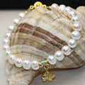 Original design 8-9mm natural white pearl beads bracelets & bangle for women party weddings gift cloisonne jewelry 7.5inch B2982