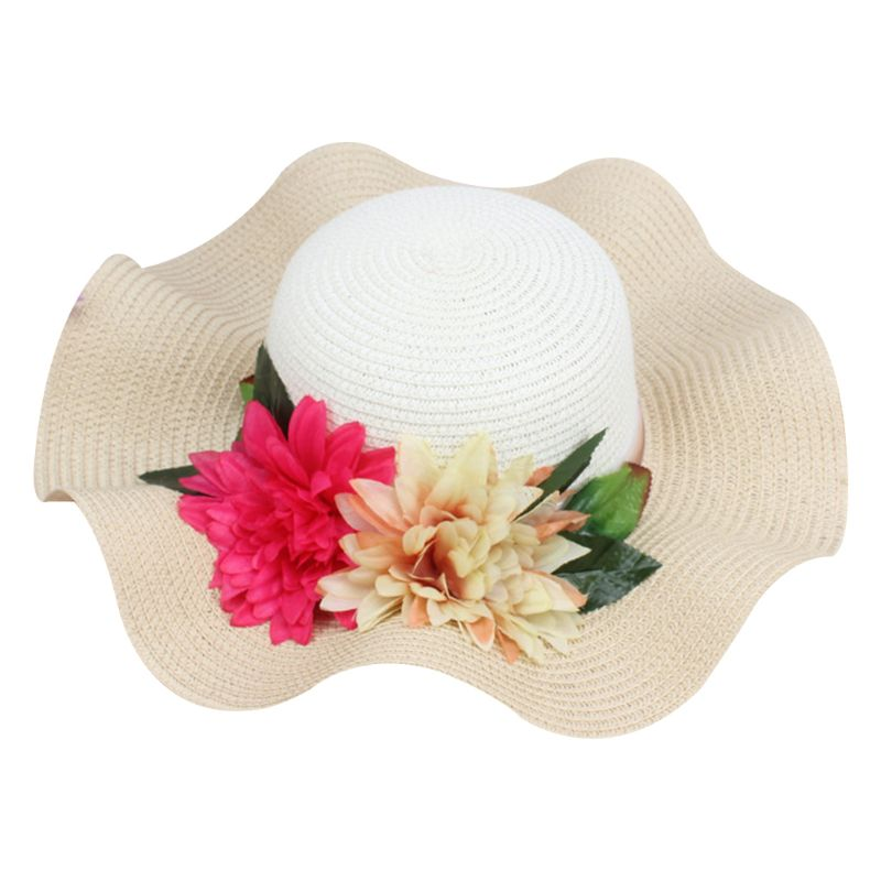 Women Summer Straw Weave Sun Visor Beach Hat Color Block Large Artificial Flowers Chiffon Ribbon Bucket Cap Large Wavy Wide Brim