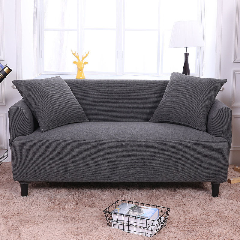 Blanket Sofa Cover: Elastic Fabric Thicken Knit Solid Sofa Cover For Living