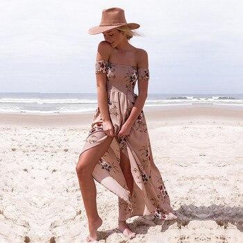 ELSVIOS 2018 New Boho Style Off Shoulder Women Long Dress Beach Floral Print Summer Dress Chiffon Slash Neck Maxi Dress XS-5XL 2
